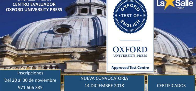 Inscripciones para el Oxford Test of English en la Salle Palma