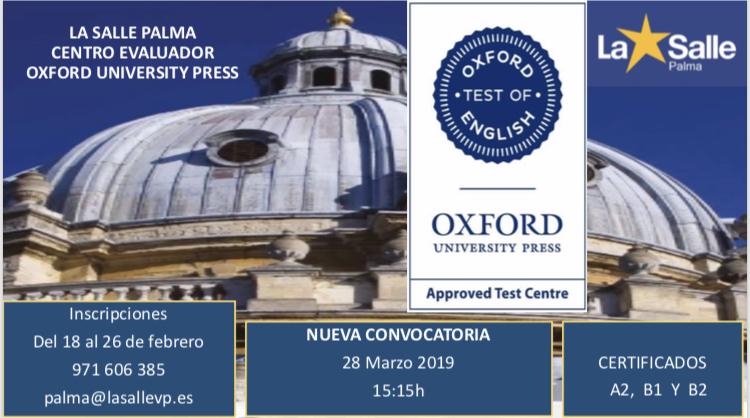 Nova convocatòria per obtenir els certificats d'A2, B1 o B2 per la universitat d'Oxford